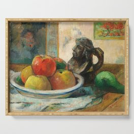 Still Life with Apples, a Pear, and a Ceramic Portrait Jug Serving Tray
