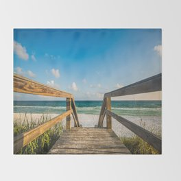 Head to the Beach - Boardwalk Leads to Summer Fun in Florida Throw Blanket