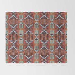 Red Brown Turquoise Orange Native American Indian Mosaic Pattern Throw Blanket