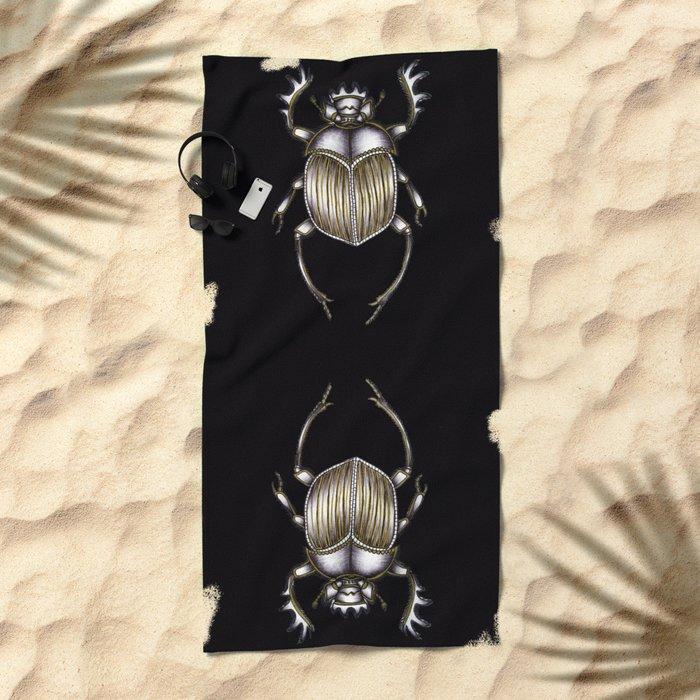 Scarab's Curse in Black Beach Towel