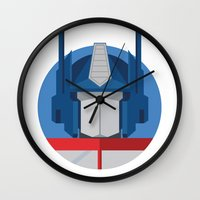 optimus prime Wall Clocks featuring Optimus Prime Dots.  by Federico Giuliani