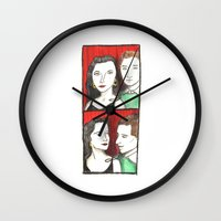 50s Wall Clocks featuring 50s Photobooth by Feronia Parker Thomas