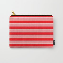 Large Horizontal Christmas Holiday Red Velvet and White Bed Stripe Carry-All Pouch