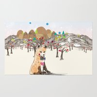 merry christmas Area & Throw Rugs featuring MERRY CHRISTMAS!!!!! by Jo Cheung Illustration