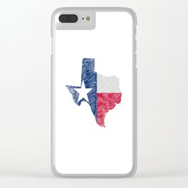 Texas Map Grunge and Flag Clear iPhone Case