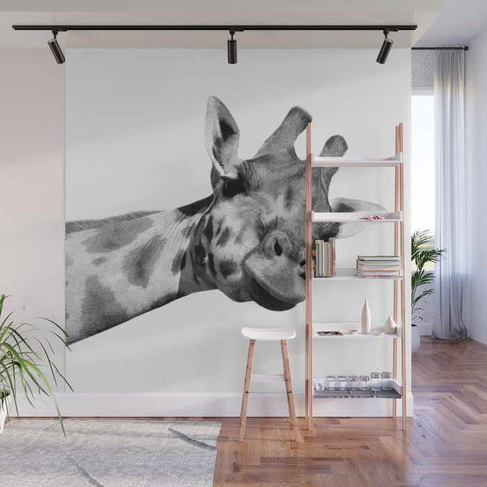 Black and white giraffe Wall Mural
