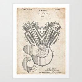HARLEY DAVIDSON ENGINE 1923 PATENT ART PRINT POSTER HD VINTAGE V TWIN CYCLE GIFT Art Print
