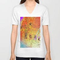 new york map V-neck T-shirts featuring New York Map by Joe Ganech
