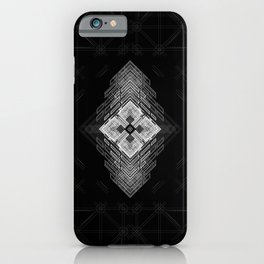White fractal geometric shapes with compass symbol iPhone Case