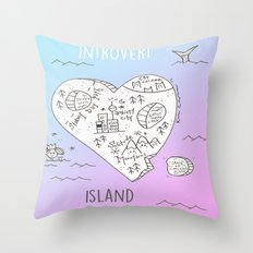 INTR0V3RT ISL4ND Throw Pillow