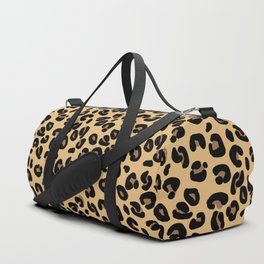 Classic Black and Yellow / Brown Leopard Spots Animal Print Pattern Duffle Bag