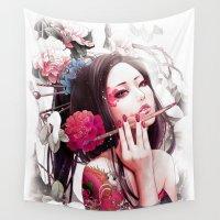 geisha Wall Tapestries featuring Geisha by bennypao