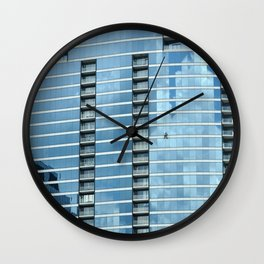 BLUE CHICAGO - CLEANING WINDOWS Wall Clock