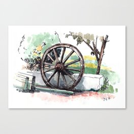 Old Wooden Wheel Canvas Print
