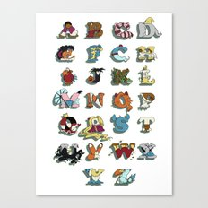The Disney Alphabet - White Background Canvas Print