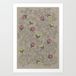 Vintage Surreal Florals Art Print