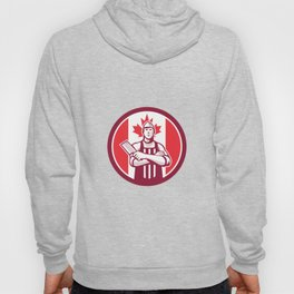 Canadian Butcher Front Canada Flag Icon Hoody