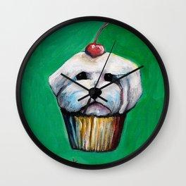 """Cherry on Pup"" Maltese Cake Wall Clock"