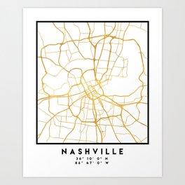 NASHVILLE TENNESSEE CITY STREET MAP ART Art Print