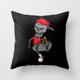 Skateboard Skeleton Throw Pillow