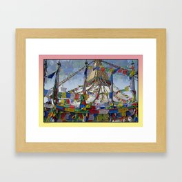 NEPALI PRAYERS CARRIED BY THE WIND FROM FLAGS Framed Art Print