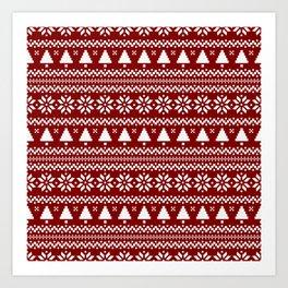 Dark Christmas Candy Apple Red Nordic Trees Stripe in White Art Print