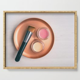 Makeup brush blush and foundation background Serving Tray
