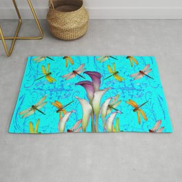 PURPLE CALLA LILIES IN  DRAGONFLY WORLD  ART Rug