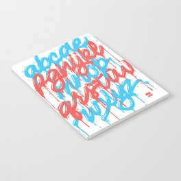 Dripset Alphabet - Blue on Red Notebook