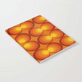 70s Circle Design - Orange Background Notebook