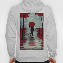 Red Autumn Rain Romance Hoody
