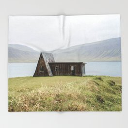 House in front of the lake Throw Blanket