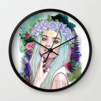virgo Wall Clocks featuring Virgo by Sara Eshak