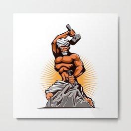 Sculptor Hammer Chisel Retro Metal Print