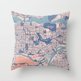 Burnaby - Canada Breezy City Map Throw Pillow