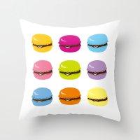 macaron Throw Pillows featuring macaron by taichi_k