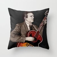 johnny cash Throw Pillows featuring Johnny Cash by Daniel Cash