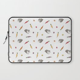 Carrot and Silkie Guinea Pig pattern in White Background Silkie Guinea Pigs illustration Laptop Sleeve