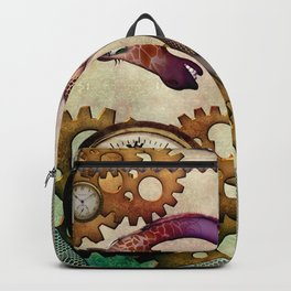 Funny giraffe, steampunk with clocks and gears Backpack