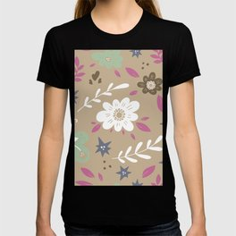 Flowers and butterflies In Brown Pattern T-shirt