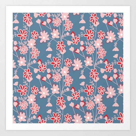 Red-Pink Flower Pattern Art Print
