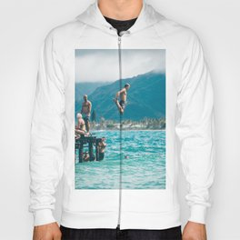 SUMMER - MAN - WOMEN - JUMPING - LAKE - SWIMMING Hoody