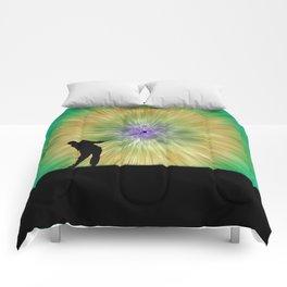 Green Tie Dye Golfer Silhouette Comforters