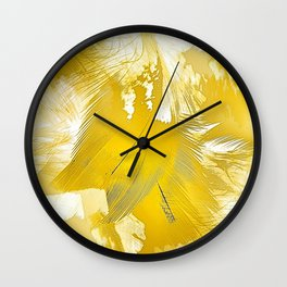 Golden Feathers Wall Clock