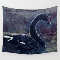 black swan Wall Tapestries featuring Black swan by jbjart