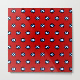 Evil Eye on Red Metal Print