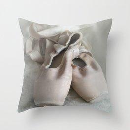 Pink ballet shoes Throw Pillow