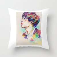 shinee Throw Pillows featuring Colorful SHINee Taemin  by sophillustration
