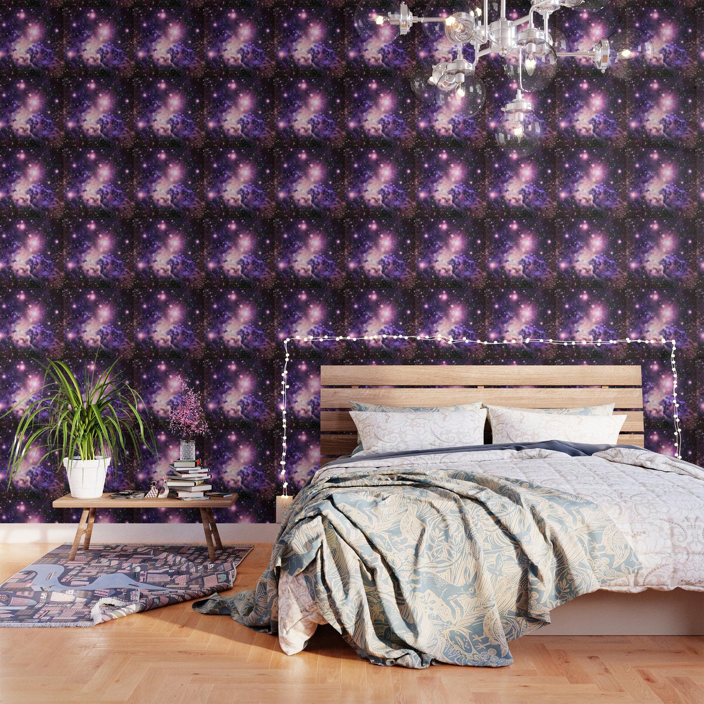 fox fur nebula pink purple galaxy wallpaper