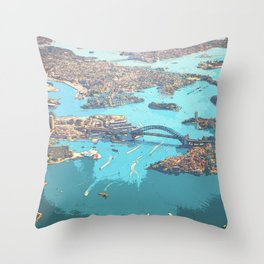 Blue Ocean Urban Bird's Eye View Throw Pillow